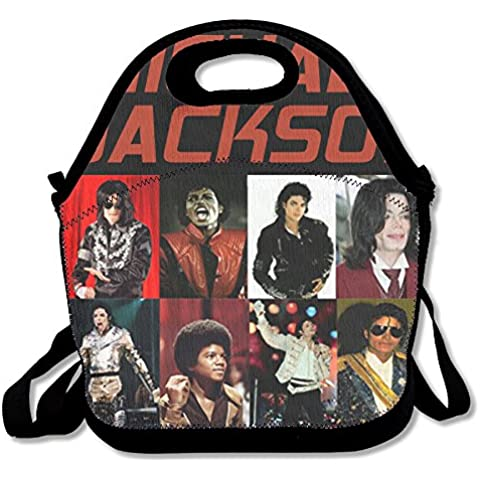 annda Superstar Michael Jackson fotos logo–Bolsa para el almuerzo de neopreno con correa para el hombro