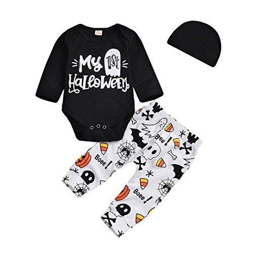 Kleinkind Jungen Mädchen 2018New Halloween Kleidung Outfits mingfa My ist Halloween Buchstabe Strampler Hose Hat 3-teiliges Set, 6M, Schwarz, 1