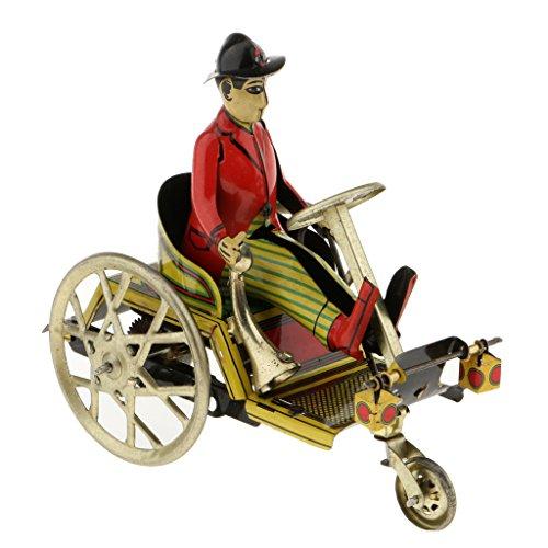 MagiDeal Retro Modelo de Caballero Montando Triciclo Juguete de Hojalata Regalo Coleccionable