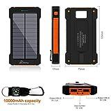 wasserdichte 10000mAh Solar Power Bank, Solar Ladegerät, Externer Akku mit superhelle Taschenlampe, Akku pack für Handy (schwarz-grün) - 2