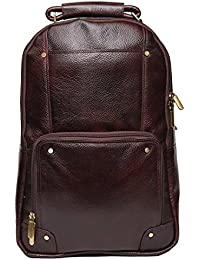 High Touch Leather 18 Inch Leather Laptop Backpack Bag For Men And Women (Color Brown)