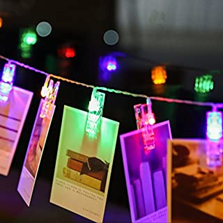 akldigital Wonderful and Pretty Photo Clips LED Pegs Multicolour String Lights, Perfect for Hanging Pictures Notes Artwork Room Decoration Christmas Party Wedding Decor (3M 20 Photo Clips)