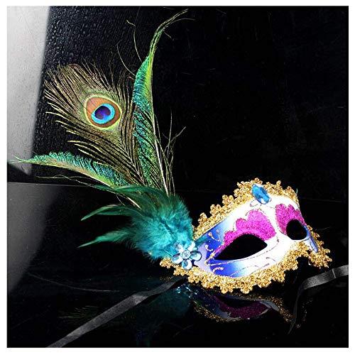 dig Premium Seite Pfau Ball Dance Maske Weibliche Erwachsene Feder Maske Kostüm Party Requisiten (Color : Blue) ()