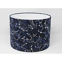 Handmade Glow in Dark Constellation Star Navy BLue Fabric Drum Lampshade Lightshade