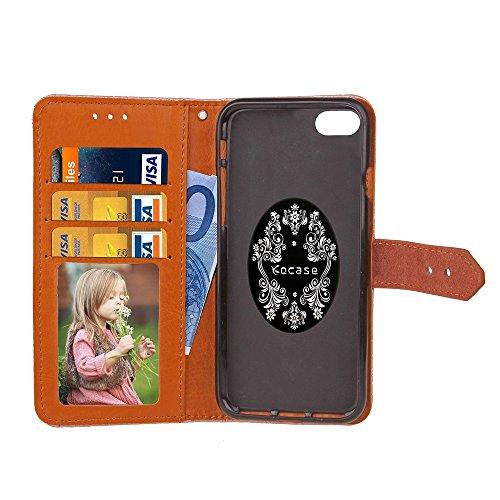 Für Apple IPhone 6 6s Plus Fall Deckung Europäische Wandmalerei geprägt Pressing Flower Pattern PU Leder Brieftasche Fall mit Halter & Foto Frame & Card Slots ( Color : Purple ) Black