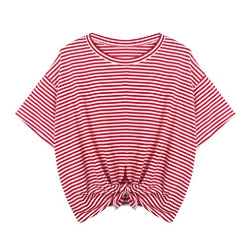 Hevoiok T-Shirt Damen Sommer Streifen O Hals Locker Tank Kurzarm Tops Oberteile Bluse (Rot, XL)