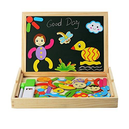 PovKeever Magnetische Holzpuzzles Zeichnung Holzbrett Doppelseitige Spielzeug Lernspielzeug Staffelei Doodle Lernspiel Spiel für Kinder