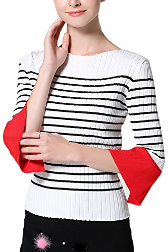 Maglione donna mezza manica Color Block Stripe Casual BlackStripes F