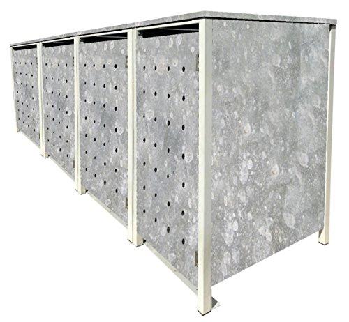 BBT@ | Hochwertige Mülltonnenbox für 4 Tonnen je 240 Liter mit Klappdeckel in Zink / Aus stabilem pulver-beschichtetem Metall / Ohne Stanzung / In verschiedenen Farben sowie mit unterschiedlichen Blech-Stanzungen erhältlich / Mülltonnenverkleidung Müllboxen Müllcontainer - 2