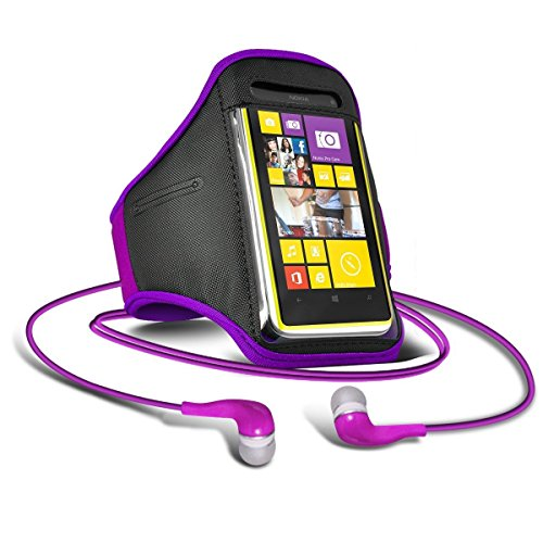 Preisvergleich Produktbild C63 ® - Apple iPhone 3 GS Verstellbarer Riemen Jogging Walking GYM Sportarmband + 3, 5 mm Kopfhörer Kopfhörer - Lila