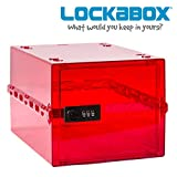 LOCKABOX Red - Secure Home Safety Box   Food, Medicines and Household items   Fridge and Freezer Safe   Portable, Hygienic and Versatile - L 31 x W 21x H 17 cm   Made In Britain