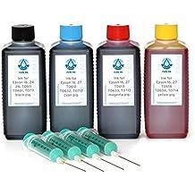 4x 100ml pureink recarga, impresora de tinta para Epson 16, 27, T061X, T063X, T071X, (No OEM) para Epson Stylus D 68, D 68PE, D 78, D 88, D 88PE, D 88Plus, D 92, D 120, DX 3800etc. Impresora