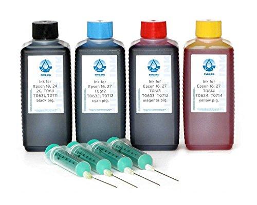 4 x 100 ml PureInk Nachfülltinte, Druckertinte für Epson 16, 27, T061x, T063x, T071x, (kein OEM) für Epson Stylus D 68, D 68 PE, D 78, D 88, D 88 PE, D 88 Plus, D 92, D 120, DX 3800 u.a. Drucker