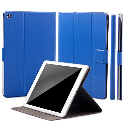 iCues Schutzhülle kompatibel mit Apple iPad Air 2   Manzano Tasche   360° Standfunktion Peacock Blau   Stand Extra Leicht sehr Dünn Leder - Imitat Book Schutz Etui Flip Case Booklet Hülle Wallet (Ipad Air Case Book)