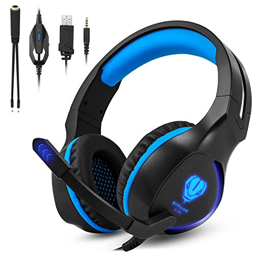 Cuffie pc gaming microfono per ps4, xbox one zenoplige cuffia da gioco gamer stereo led luce per pc laptop tablet mac tablet ipad mp3 mp4 iphone smartphone, colore blu
