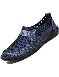 fe2ddfff540 Bebete5858 Mesh Respirant Chaussures Hommes Casual Chaussures en Cuir  Véritable Slip Sur la Marque Mode Chaussures