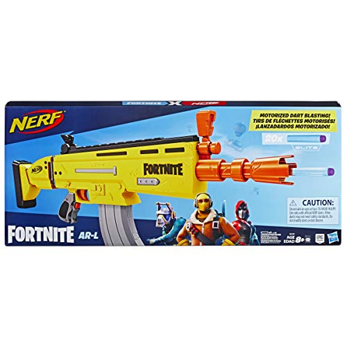 NERF E6158EU4 AR-L Motorized Toy Blaster, 20 Official Fortnite Elite Darts, Flip Up Sights-for Youth, Teens, Adults, Multicolour Best Price and Cheapest