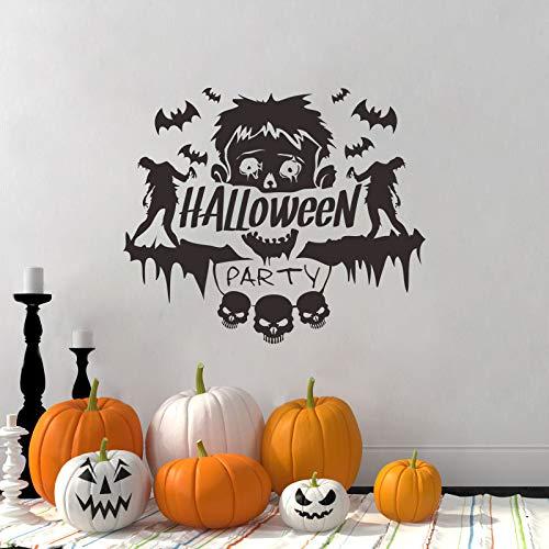 JXFY Neue Halloween Wandaufkleber Geschnitzte Zombie Fledermaus Muster Kreative Individuelle Graffiti Aufkleber PVC Abnehmbare 44x37 cm (Klassenzimmer-tür-dekoration-ideen Für Halloween)
