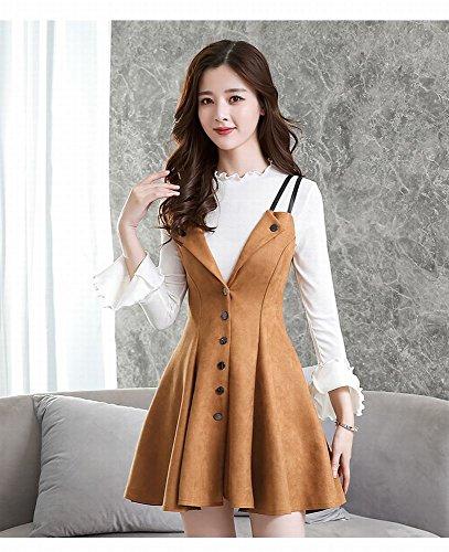Herbst und Winter Frauen Slim War Dünne Mode Schlinge Anzug Zwei Sätze von Kleid (Erwachsenen Anzug Haut)