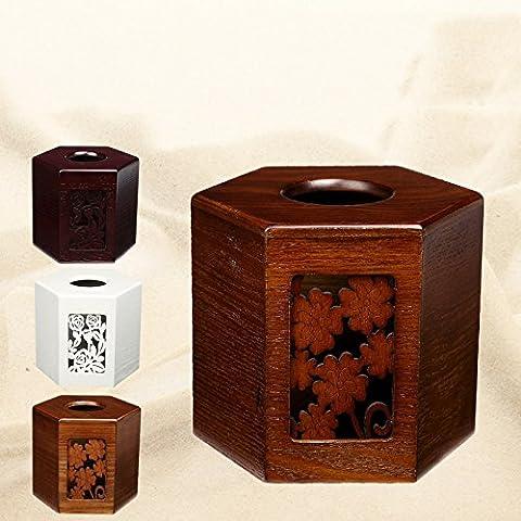 YUENLONG Legno massello box carta home disegnare il vassoio elegante arredo in legno cilindro creativo di asciugamani di carta e cinese classico bianco , Bianco