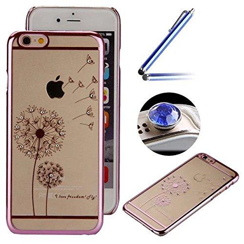 Etsue Dur Clear PC Coque pour iPhone 7, Luxe Bling [Papillon Argent] Plaquer par Galvanoplastie Diamant Glitter Cristal Ttransparent Coquille Dure Aérien Protecteur Case étui pour iPhone 7 + 1 x Bleu  Pissenlit Rose