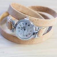 Moderne Armband-Uhr für Damen mit echtem Kork / alle Längen nach Maß / Wickel-Uhr