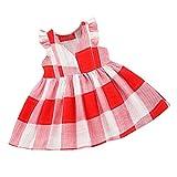 JUTOO Kleinkind Kinder Baby mädchen ärmellose Karierte gestreifte Kleider Kleidung Party Prinzessin Kleider (rot,80)