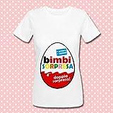 T-shirt donna Bimbi Sorpresa, uovo con doppia sorpresa per annunciare una gravidanza, idea regalo simpatica per una mamma in attesa di 2 gemelli!
