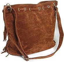 THG agraciada Oval Fringe bolso de hombro de los bolsos con flecos bolsa de la bola del partido Show (caf??)