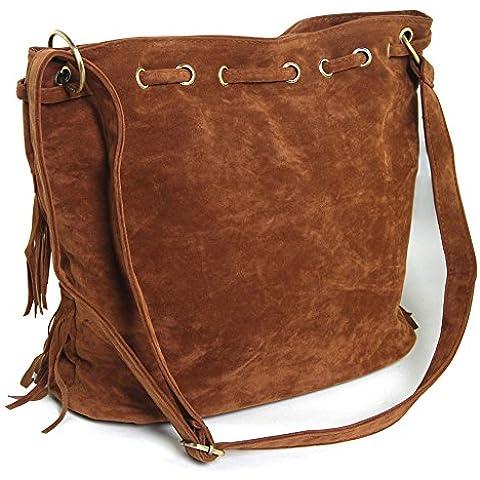 THG agraciada Oval Fringe bolso de hombro de los bolsos con flecos bolsa de la bola del partido Show (caf¨¦)