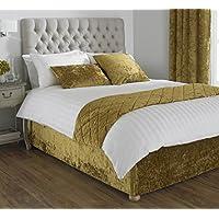 """Riva Paoletti Verona Large Bed Runner - Ochre Yellow - Velvet Feel - Crushed Velvet Look - Diamond Quilt Design - 100% Polyester - 50 x 200cm (20"""" x 79"""" inches) - Designed in the UK"""