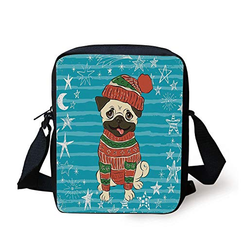 CBBBB Pug,Happy Dog with Winter Clothes Vibrant Stripped Background with White Stars Moon Decorative,Emerald Blue Red Print Kids Crossbody Messenger Bag Purse 3 Cell White Star