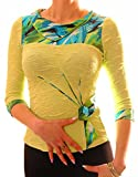 PoshTops Women's Blouse Shirt Highly Detailed Stretchy Ladies Top 3/4 Sleeved Size S - XXXL 8 10 12 14 16 18 20 22 Party Evening Wear Casual Wear Plus Sizes