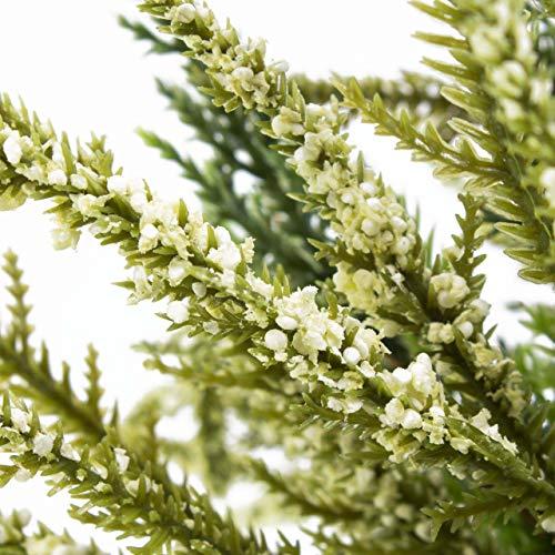 artplants Set 12 x Künstliche Erika Almina auf Steckstab, weiß, 20 cm, Ø 20 cm – 12 Stück Kunstblume/Kunstpflanzen Heidekraut