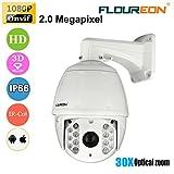 FLOUREON Videosorveglianza CCTV Camera IP Dome Telecamera Impermeabile 1080P 2.0 MP 30X ZOOM IR-CUT Visione Notturna Allarme Email Pan/Tilt Funzione di Posizionamento 3D