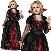 GIRLS VAMPIRE PRINCESS HALLOWEEN OUTFIT - (RED, BLACK)