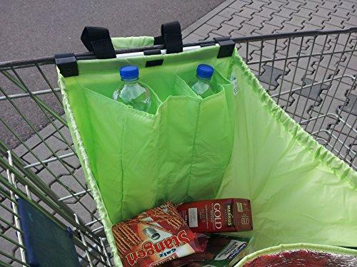 Grüne Faltbare Einkaufswagentasche / Rucksack mit integriertem Kühlfach und Flaschenfach, 33 x 52 x 39cm