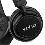 Veho Z-4 On-Ear Wired Headphones | Foldable Design | Leather Finish | Microphone | Remote Control - Black (VEP-009-Z4)