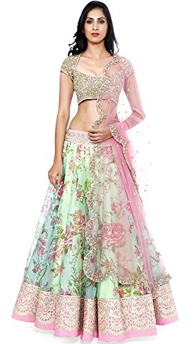 9. Sky Global Women's Georgette Lehenga Choli (SKY_Lehnga_117_White & Pink_Free Size)
