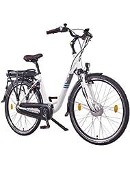 """'NCM Munich N7C 2016,28""""Vélo électrique Pedelec Unisexe, E Femme/Homme avec Bike, City Vélo électrique de frein à rétropédalage, 36V 250W 14AH Batterie lithium-ion avec 504WH Panasonic cellules, blanc"""