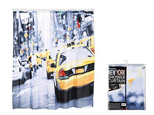 """Preisvergleich Produktbild SALE - Duschvorhang """" """" NEW YORK - YELLOW CAB """" , sanft fallender Duschvorhang bereits inkl. 12 x Ösen , """" NEW YORK - YELLOW CAB """" , in schöner transparenter Geschenk - Packung mit Reißverschluss , Duschvorhang mit tollem Motiv - hygienisch, 100 % Polyester, bedrucktes Motiv ist von beiden Seiten sichtbar - stilvoll und elegant - 180 cm x 180 cm - aus dem KAMACA - SHOP"""