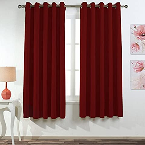 Ponydance de reducción de ruido superiores de los anillos térmicos paneles aislantes cortina del apagón de cocina, 167cm x 182cm (2 paneles, rojo)