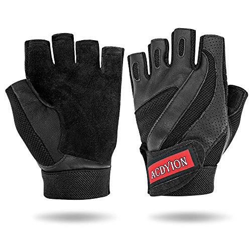 Fitness Handschuhe Herren Outdoor Breathable Sporthandschuhe, Leder Half Fingerhantel Gewicht Handschuhe, Dumbbell Übung Sicherheit Handschuhe (Schwarz, Medium) (Sicherheit-handschuh)