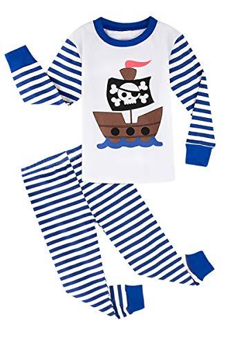 MOMBEBE COSLAND Jungen Schlafanzug Piratenschiff Langarm Pyjamas (6 Jahre/122, Gestreift)