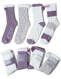 JARSEEN 4 Pares Mullido Borroso Calcetines de Invierno Acogedor Calentar Pantuflas Super Suaves Cómodos Felpa Calcetines