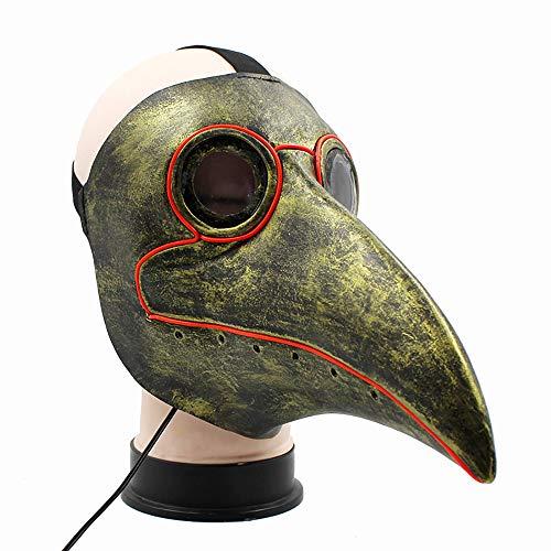 Electz Glow Lague Doctor Vogel Maske Lange Nase Schnabel Cosplay Steampunk Halloween Kostüm Requisiten lustige Weihnachtsfeier Rollenspiel Spielzeug,Green