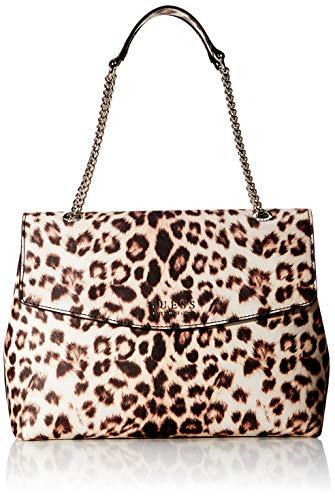 Guess Damen Robyn Shoulder Bag Schultertasche, Mehrfarbig (Leopard), 13x26x34 Centimeters