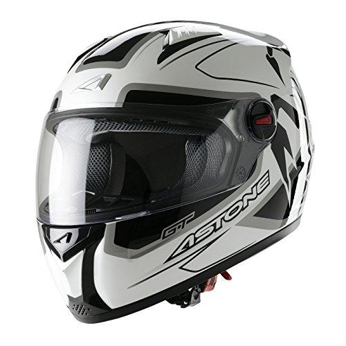 Astone Helmets, Casco integral, color Blanco Negro, talla 61