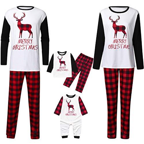 Holeider Weihnachten Pyjama Familie Schlafanzug Passende Pyjama Sets Damen Herren Kinder Baby Langarm Nachtwäsche Eltern-Kind Elch drucken Tops + Gitter Hosen Weihnachts Nachthemd