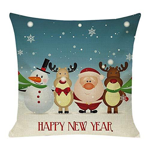 Fenverk Weihnachten Kissenbezug Merry Christmas bettwäsche deko Kissenbezug Elch Weihnachtsmann Glocke Elf Rentier Rudolph Weihnachtsmann Sofa kissenhuelle 45x45cm(A)